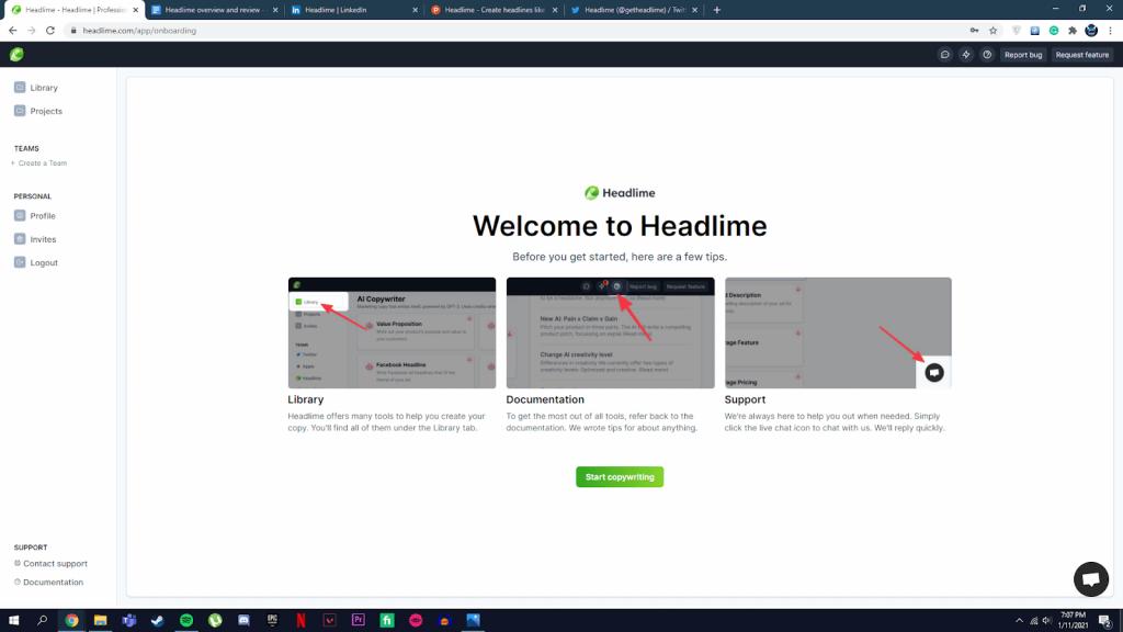 headlime welcome page